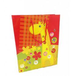 Ajándék tasakok - Díszzacskók - Ünnepi csomagolások ajándékokhoz - Ajándéktasak piros zsiráf