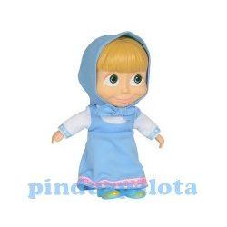 Játékbabák - Műanyag-babák - Masha puhatestű baba műanyag fejjel kék ruhában 22 cm