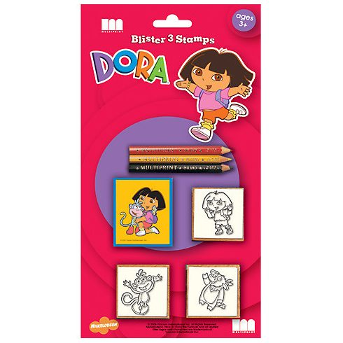 Nyomdák gyerekeknek - Dóra a felfedező 3db-os nyomdaszett színes ceruzákkal Multiprint
