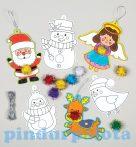 Kreatív hobby készletek - Baker Ross - Karácsonyi Színezd ki pom-pom dekorációk
