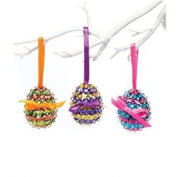 Kreatív hobby készletek - Flitteres húsvéti tojás függődísz készítő