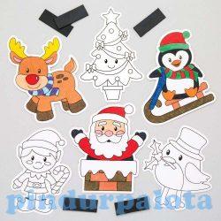 Kreatív hobby készletek a gyermeki kreativitás kibontakozásához - Színezhető karácsonyi hűtőmágnes 1