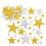Arany-ezüst csillag habszivacs matricák