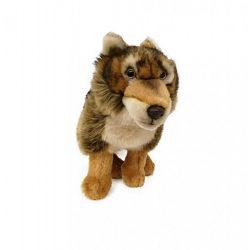 Plüss állatok - Plüss farkas kétszínű barna árnyalat ülő