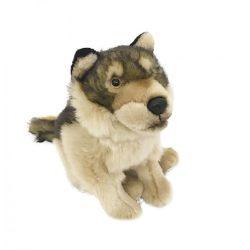 Plüss állatok - Plüss farkas kétszínű szürke árnyalat ülő 26,5cm