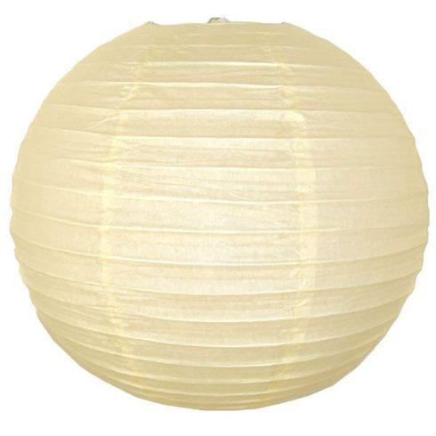 Party dekoráció - Lampion gömb papír 25 cm krém színű