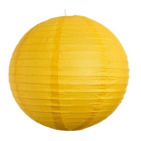 Party díszek - Lampion gömb papír 25 cm sárga