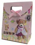 Party kellékek - Ajándéktasakok - Ajándéktasak macis kockás papír 12,5x6x16,3cm multicolor