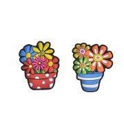 Ajándékok divatos termékek gyerekeknek - Virág cserépben hűtőmágnes gumi 6,7x5,5cm multicolor