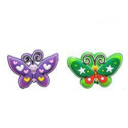 Ajándékok divatos termékek gyerekeknek - Pillangó hűtőmágnes gumi 6x4,6cm lila-zöld
