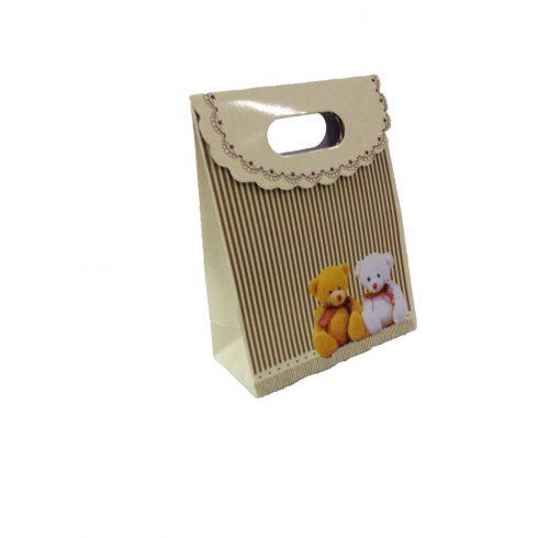 Party kellékek - Ajándéktasak macis 12,5 x 6 x 16,3 cm