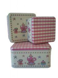 Sütemény tárolók - Fém sütis doboz - Kockás virágos