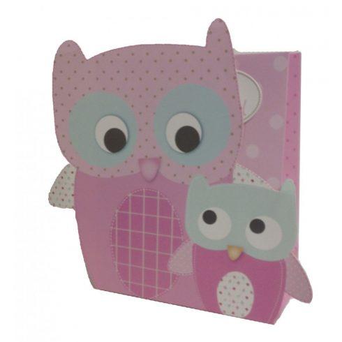 Ajándéktasakok - Ajándékzacskók - Ajándéktasak állat figurás papír 26,5x21,5x10cm rózsaszín-világosk