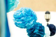 Party kellékek- Lampion - Türkiz virág
