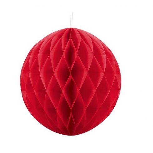 Party dekoráció - Lampion dekorációs célra gömb alakú papírból 50 cm piros