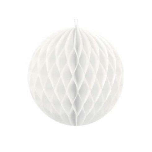 Party díszek - Dekor lampion labda papír fehér