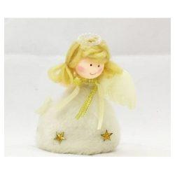 Karácsonyfa díszek - Textil angyal álló 10cm fehér