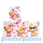 Ajándék csomagolási ötletek - Medvés papír lila