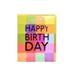Ajándék tasakok - Ajándék tasak Happy Birthday felirattal 14x15x6