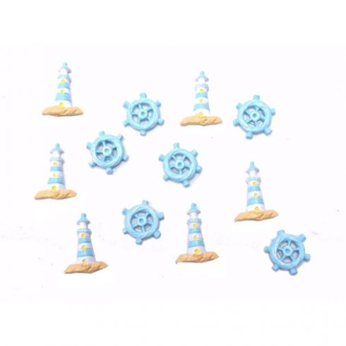 Kézműves kellékek - Dekorációs elemek - Hajókormány és torony, ragasztós, poly