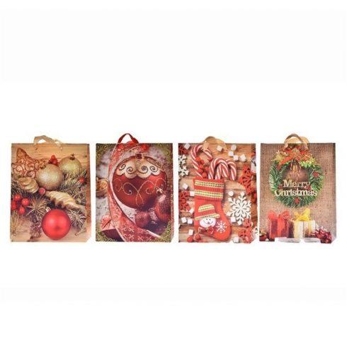Ajándék tasakok - Díszzacskók - Tasak karácsonyi papír 18x23x8cm