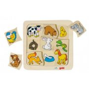 Fa puzzle gyerekeknek - Ki mit eszik?