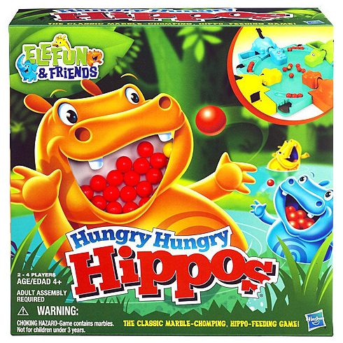 Társasjátékok gyerekeknek - Hungry Hippos - Éhes vizilovak társas