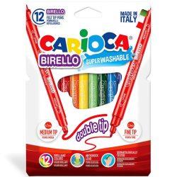 Írószerek - Carioca Színes filctoll 12db-os kétvégű
