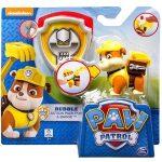 Mancs őrjáratos játékok - Mancs őrjárat: Rubble kutya figuraszett jelvénnyel