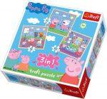 Puzzle - Kirakó - Gyerek puzzle - Peppa malac 3 az 1-ben puzzle