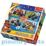 Puzzle, kirakók - Gyerek puzzle - Láng és a Szuperverdák Blaze 4 in 1 Puzzle