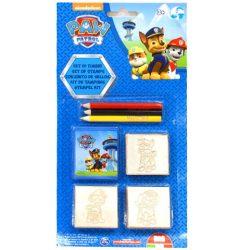 Mancs őrjáratos játékok - 3db-os nyomdaszett színes ceruzával