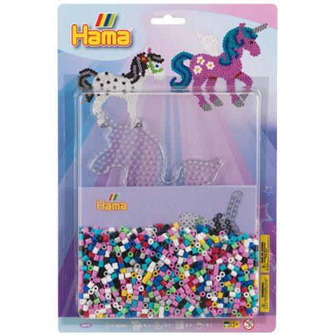 Fűzős játékok gyerekeknek - Gyöngyök - Hama, Egyszarvú vasalható gyöngy szett, 2000 db-os Midi