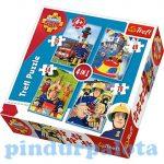 Gyerek Puzzle - Sam a tűzoltó 4 az 1-ben puzzle Trefl