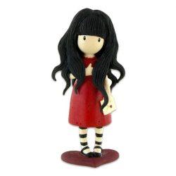 Műanyag babák - Santoro Gorjuss 3D figura - A szívből című grafika alapján bordó ruhás szerelmes lev
