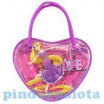 Ajándékok divatos termékek gyerekeknek - Aranyhaj szív alakú kistáska hajdíszekkel