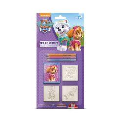Mancs őrjáratos játékok - Lányok 3 db-os nyomdakészlet színes ceruzával