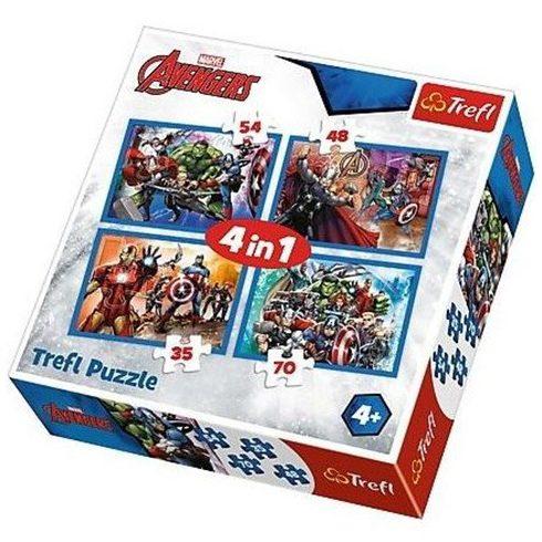 Gyerek Puzzle - Kirakósok - Rettenthetetlen Bosszúállók, 4 az 1-ben puzzle