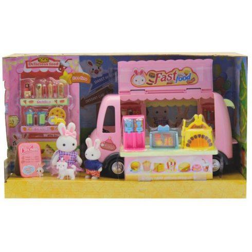Autós játékok - Sütis játék lakóbusz nyuszicsaláddal
