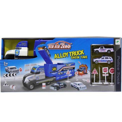 Autós játékok - Játék rendőrségi autószállító kamion szett