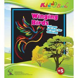 Iskola előkészítő foglalkoztató füzetek - Madarak - Vitrage színező - Ablakdísz készítő Kiddo Books