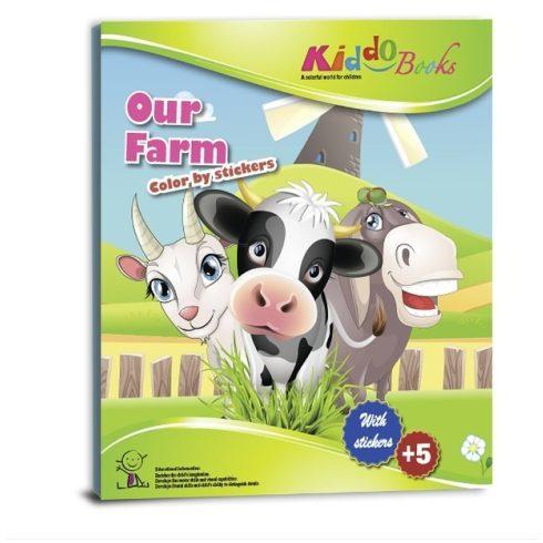 Iskola előkészítő foglalkoztató füzetek - Matricás színező füzet Farm Kiddo Books