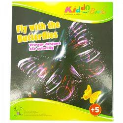 Iskola előkészítő foglalkoztató füzetek - Pillangók - Vitrage színező - Ablakdísz készítő