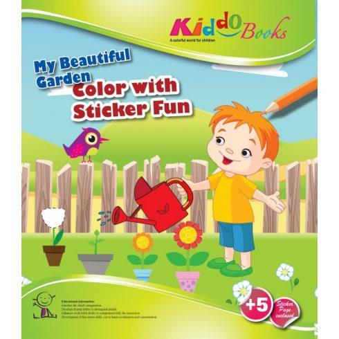 Iskola előkészítő foglalkoztató füzetek - Csodálatos kiskertem Matricás színező füzet Kiddo Books