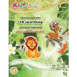 Iskola előkészítő foglalkoztató füzetek - Erdei Állatok 3D csillogó képek foglalkoztató Kiddo Books