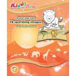 Iskola előkészítő foglalkoztató füzetek - Szafari 3D csillogó képek foglalkoztató Kiddo Books