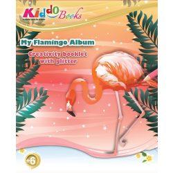 Iskola előkészítő foglalkoztató füzetek - Csillámos Flamingók foglalkoztató Kiddo Books