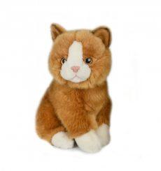 Plüss cica - barna-fehér  - 17,5cm - Plüss állat