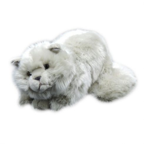Plüss állatok - Szürke hosszú szőrű plüss macska