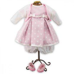 Műanyag babák - Rózsaszín pöttyös lány babaruha és babacipő játékbabáknak